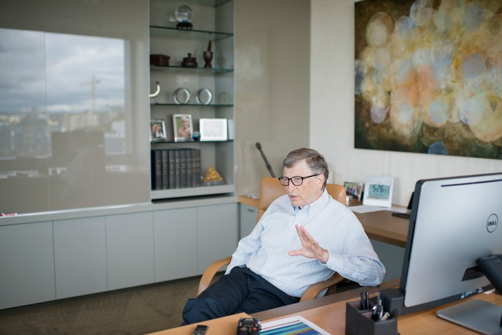 Microsoft Corporation founder, technology advisor and board member Bill Gates is photographed during a wide-ranging interview with La Stampa Editor-In-Chief Mario Calabresi May 24, 2014 at the Bill and Melinda Gates Foundation headquarters in Seattle, Washington, USA. Photo by Daniel Berman/www.bermanphotos.com for La Stampa.
