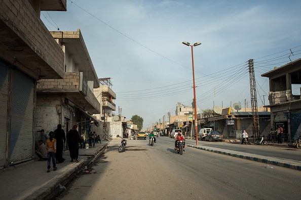 TEL ABYAD, OCTOBER 15: Few locals seen on the streets around mostly shuttered shops in Tel Abyad, Syria.