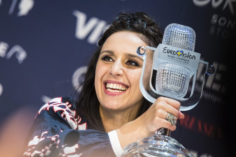 STOCKHOLM, SWEDEN - MAY 14: Jamala winner of the 2016 Eurovision Song Contest gives a press conference at Ericsson Globe Arena on May 14, 2016 in Stockholm, Sweden. (Photo by Michael Campanella/Getty Images)