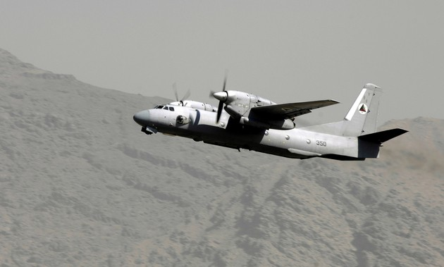 An Afghan national army air corps AN-32 cargo plane takes off Oct. 18 at Kabul International Airport, Afghanistan. The plane's mission is to fly winter supplies to ANA troops in Kandahar. The ANA air corps has been able to fly more cargo to support their own troops due to the recent introduction and training of aircraft loadmasters.  (U.S. Air Force photo/Staff Sgt. Brian Ferguson)