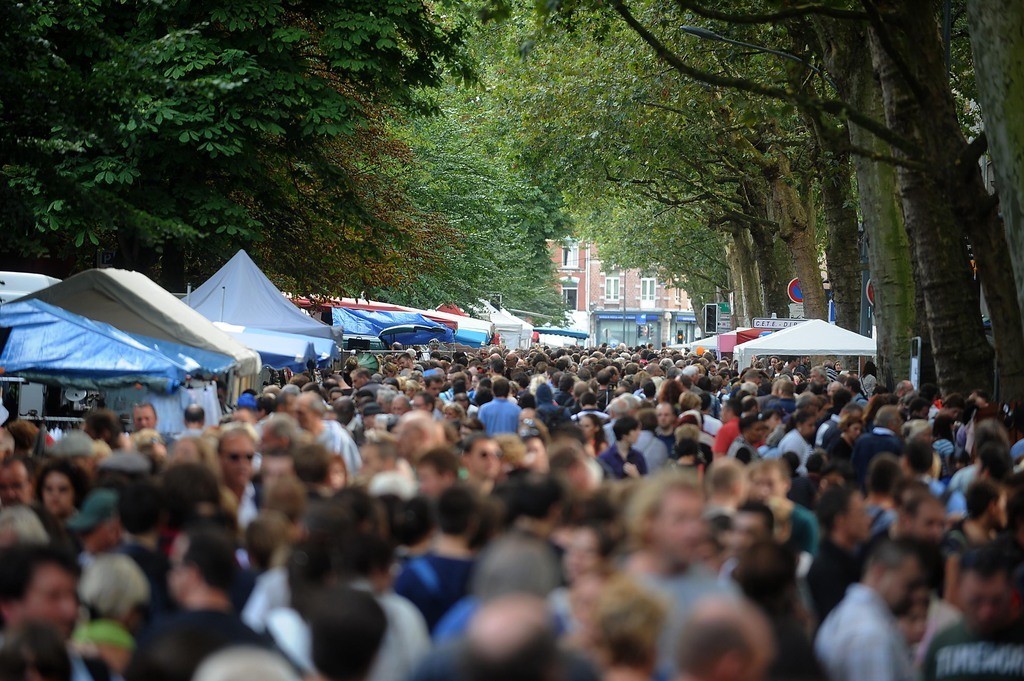 LILLE, FRANCE - AUGUST 31:  Crowd is seen during the annual Braderie de Lille on August 31, 2013 in Lille, France. The Braderie de Lille is one of the largest flea market in Europe and takes palce on the first weekend of September every year.  (Photo by Antoine Antoniol/Getty Images)