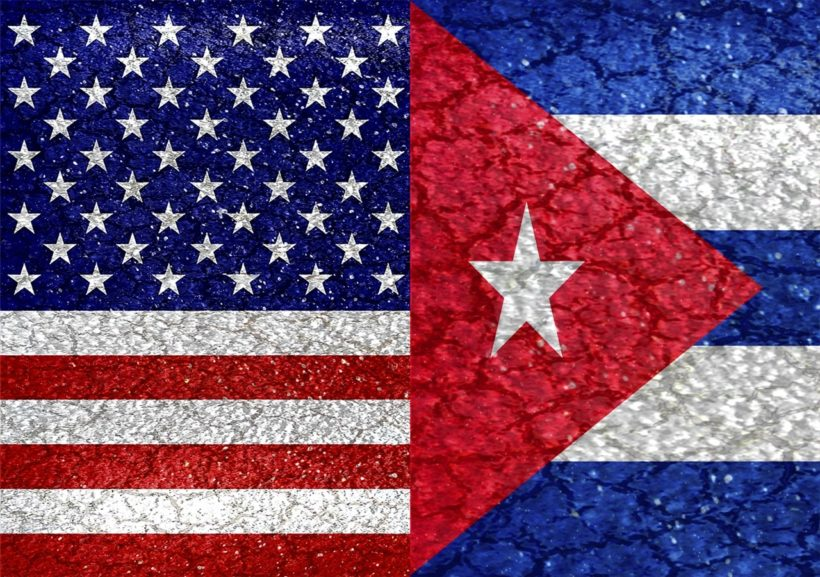 Usa and Cuba flags united again raster illustration concept in vivid saturated colors and grunge style.