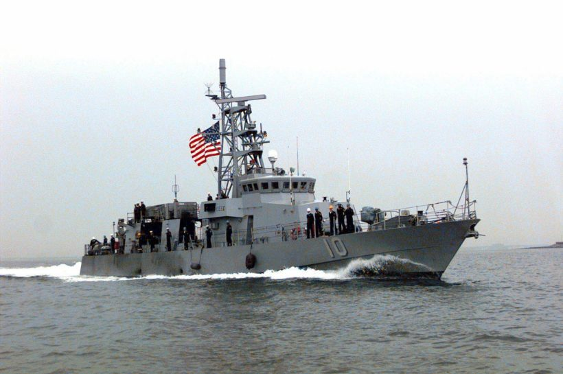 A starboard side view of US Navy CYCLONE CLASS Coastal Defense Ship USS Firebolt (PC 10) underway as it returns to Little Creek Amphibious Base, Norfolk, VA. The Firebolt is returning from a deployment in the Mediterranean Sea.