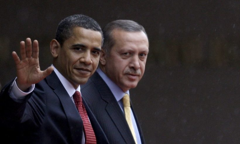 U.S. President Barack Obama (L) is escorted by Turkish Prime Minister Recep Tayyip Erdogan as he leaves the Prime Minister's office following their meeting in Ankara, April 6, 2009. Obama's visit on the last leg of an eight-day trip that marks his debut as president on the world stage, is a recognition of the secular but predominantly Muslim country's growing clout and Washington's desire for its help to solve confrontations and conflicts from Iran to Afghanistan. REUTERS/Murad Sezer (TURKEY POLITICS)