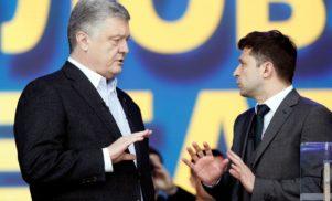 Egymásnak esett Zelenszkij és Porosenko a kijevi Olimpiai Stadionban
